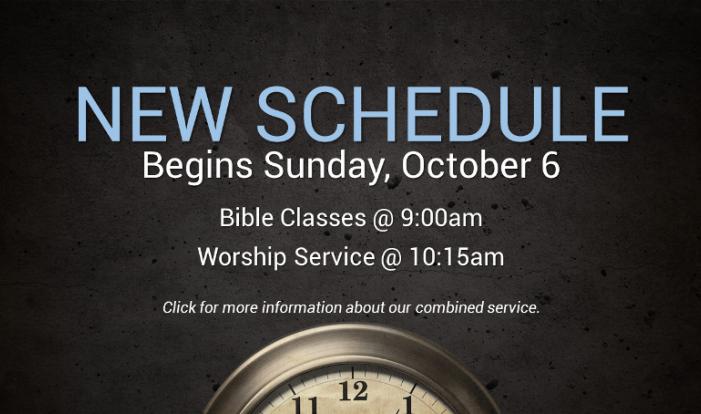 New Sunday Morning Schedule Beginning October 6